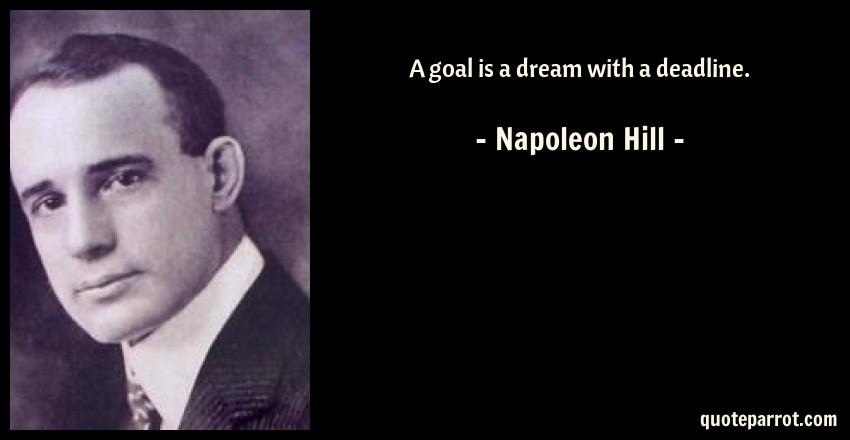 Napoleon Hill Quote: A goal is a dream with a deadline.
