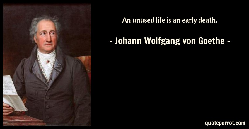 Johann Wolfgang von Goethe Quote: An unused life is an early death.
