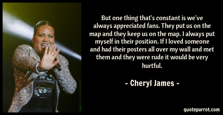Cheryl James Quote: But one thing that's constant is we've always appreciated fans. They put us on the map and they keep us on the map. I always put myself in their position. If I loved someone and had their posters all over my wall and met them and they were rude it would be very hurtful.
