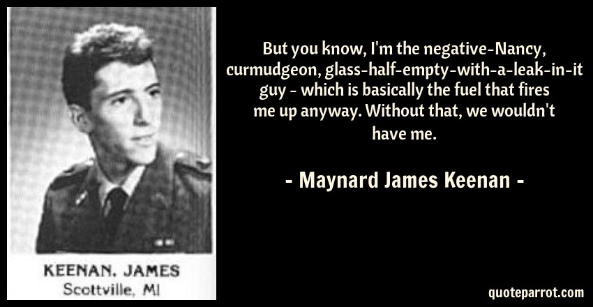 James Maynard Keenan Quotes: But You Know, I'm The Negative-Nancy, Curmudgeon, Glass