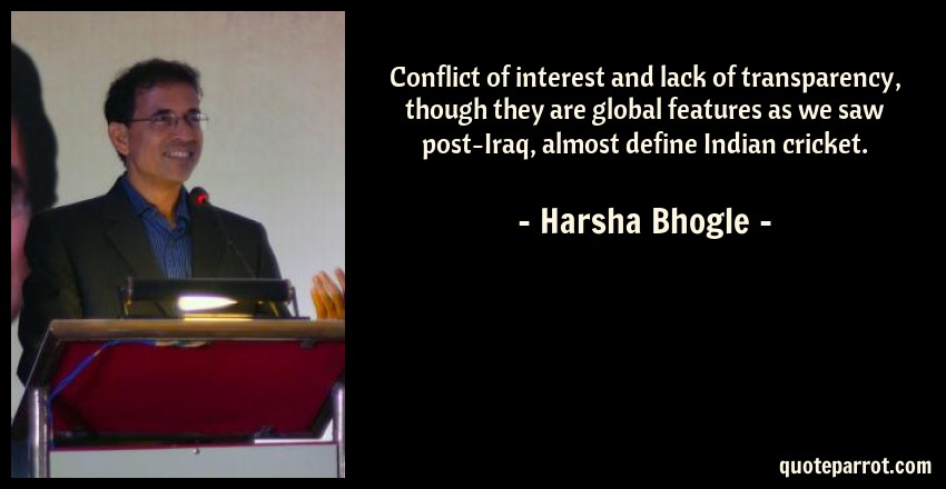 Conflict Of Interest And Lack Of Transparency Though T By Harsha