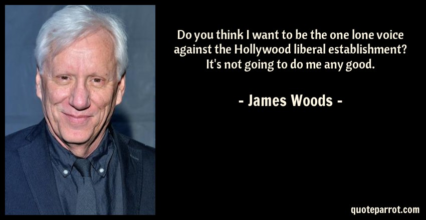 James Woods Quote: Do you think I want to be the one lone voice against the Hollywood liberal establishment? It's not going to do me any good.