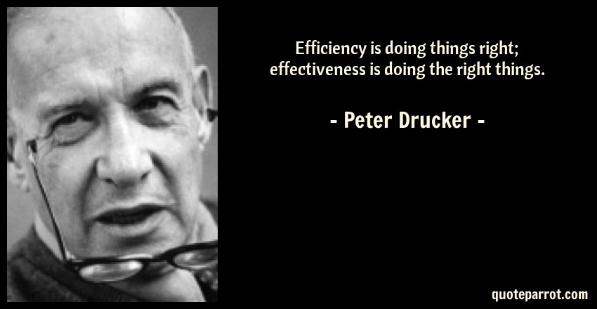 Peter Drucker Quotes | Efficiency Is Doing Things Right Effectiveness Is Doin By Peter
