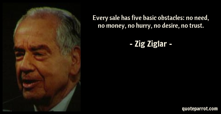 Zig Ziglar Quote: Every sale has five basic obstacles: no need, no money, no hurry, no desire, no trust.