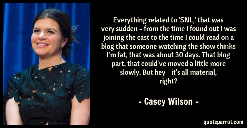 Casey Wilson Quote: Everything related to 'SNL,' that was very sudden - from the time I found out I was joining the cast to the time I could read on a blog that someone watching the show thinks I'm fat, that was about 30 days. That blog part, that could've moved a little more slowly. But hey - it's all material, right?