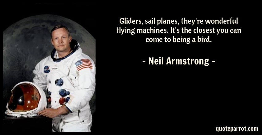 Neil Armstrong Quote: Gliders, sail planes, they're wonderful flying machines. It's the closest you can come to being a bird.