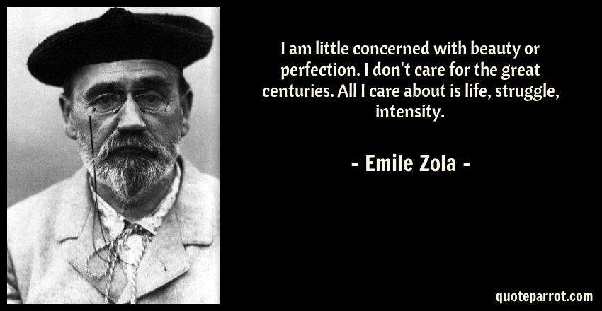Emile Zola Quote: I am little concerned with beauty or perfection. I don't care for the great centuries. All I care about is life, struggle, intensity.
