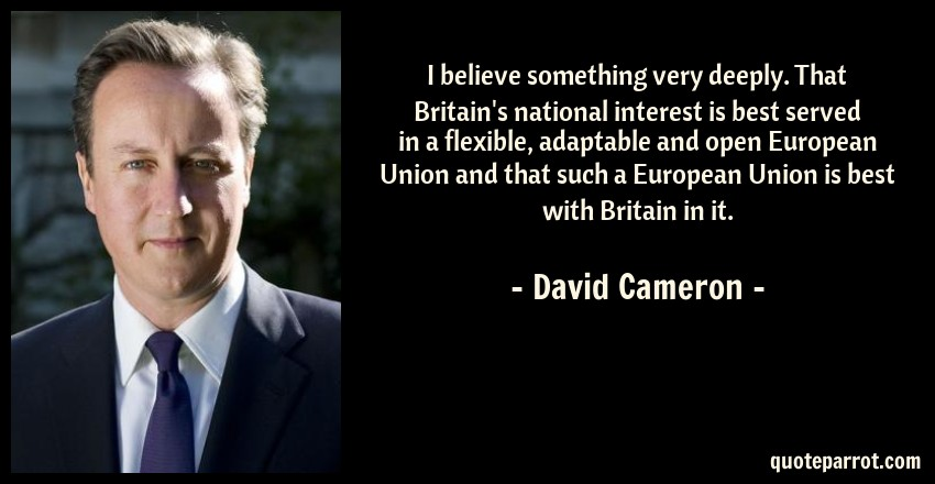 David Cameron Quote: I believe something very deeply. That Britain's national interest is best served in a flexible, adaptable and open European Union and that such a European Union is best with Britain in it.