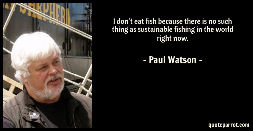 Paul Watson Quote: I don't eat fish because there is no such thing as sustainable fishing in the world right now.