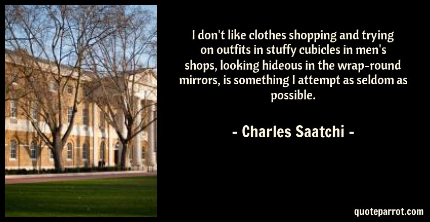 Charles Saatchi Quote: I don't like clothes shopping and trying on outfits in stuffy cubicles in men's shops, looking hideous in the wrap-round mirrors, is something I attempt as seldom as possible.