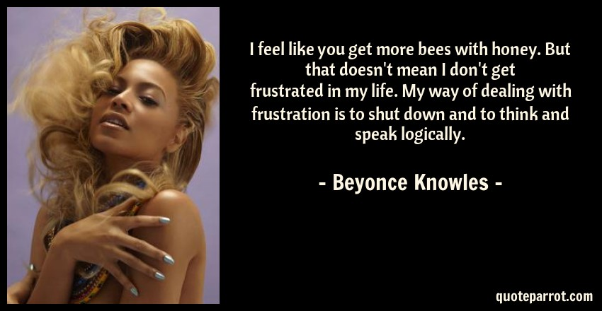 Beyonce Knowles Quote: I feel like you get more bees with honey. But that doesn't mean I don't get frustrated in my life. My way of dealing with frustration is to shut down and to think and speak logically.