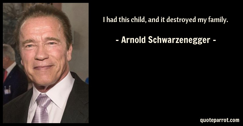 Arnold Schwarzenegger Quote: I had this child, and it destroyed my family.