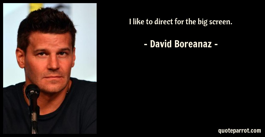David Boreanaz Quote: I like to direct for the big screen.