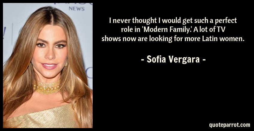Sofia Vergara Quote: I never thought I would get such a perfect role in 'Modern Family.' A lot of TV shows now are looking for more Latin women.