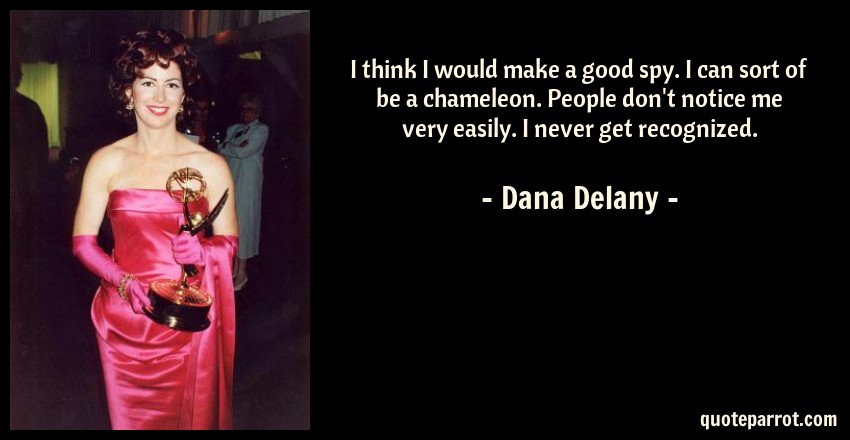 Dana Delany Quote: I think I would make a good spy. I can sort of be a chameleon. People don't notice me very easily. I never get recognized.