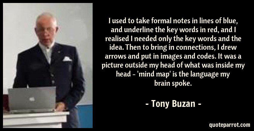 Tony Buzan Quote: I used to take formal notes in lines of blue, and underline the key words in red, and I realised I needed only the key words and the idea. Then to bring in connections, I drew arrows and put in images and codes. It was a picture outside my head of what was inside my head - 'mind map' is the language my brain spoke.