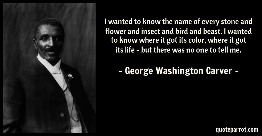 George Washington Carver Quote: I wanted to know the name of every stone and flower and insect and bird and beast. I wanted to know where it got its color, where it got its life - but there was no one to tell me.