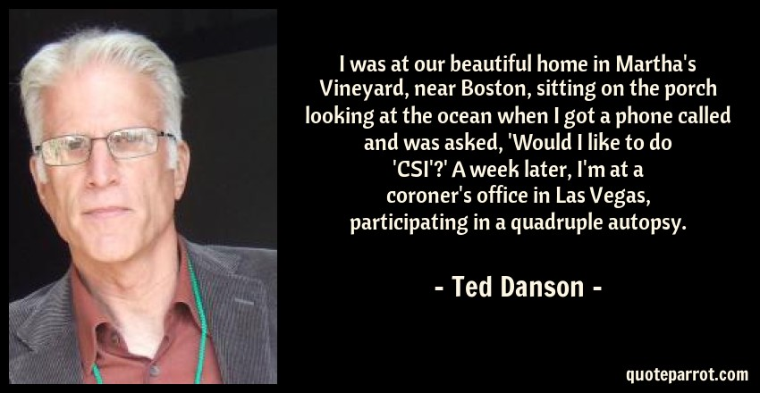 Ted Danson Quote: I was at our beautiful home in Martha's Vineyard, near Boston, sitting on the porch looking at the ocean when I got a phone called and was asked, 'Would I like to do 'CSI'?' A week later, I'm at a coroner's office in Las Vegas, participating in a quadruple autopsy.