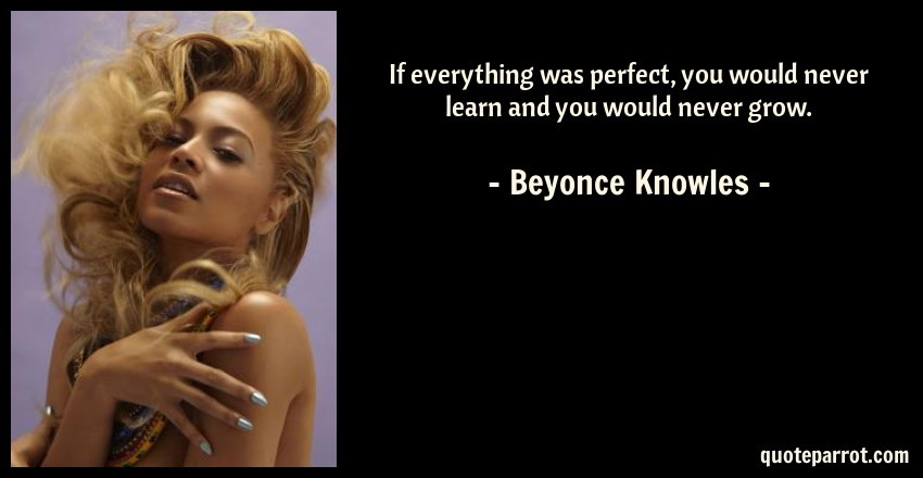 Beyonce Knowles Quote: If everything was perfect, you would never learn and you would never grow.