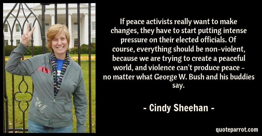 Cindy Sheehan Quote: If peace activists really want to make changes, they have to start putting intense pressure on their elected officials. Of course, everything should be non-violent, because we are trying to create a peaceful world, and violence can't produce peace - no matter what George W. Bush and his buddies say.
