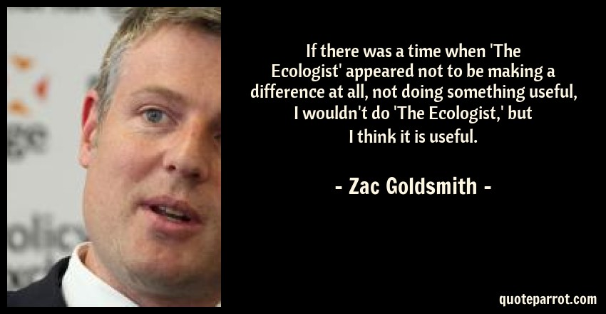 Zac Goldsmith Quote: If there was a time when 'The Ecologist' appeared not to be making a difference at all, not doing something useful, I wouldn't do 'The Ecologist,' but I think it is useful.