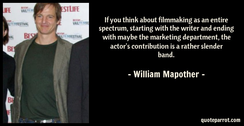 William Mapother Quote: If you think about filmmaking as an entire spectrum, starting with the writer and ending with maybe the marketing department, the actor's contribution is a rather slender band.