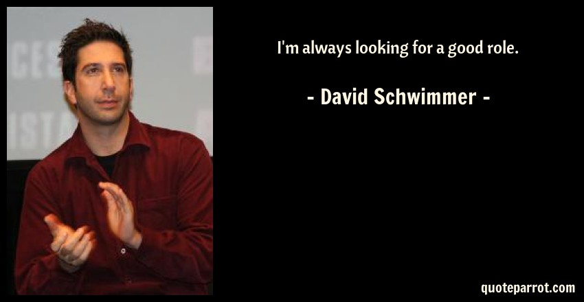 David Schwimmer Quote: I'm always looking for a good role.