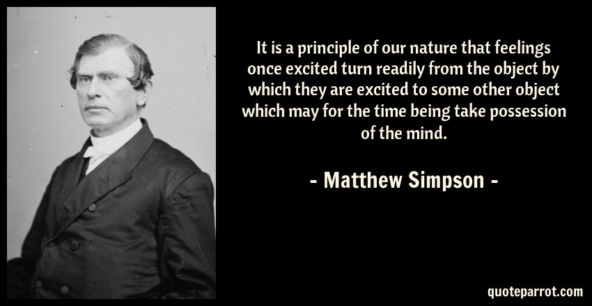 Matthew Simpson Quote: It is a principle of our nature that feelings once excited turn readily from the object by which they are excited to some other object which may for the time being take possession of the mind.