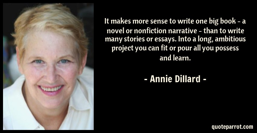 annie dillard essays on writing Access to over 100,000 complete essays an american childhood, by annie dillard it is amazing how through her writing and her own memories, annie dillard.