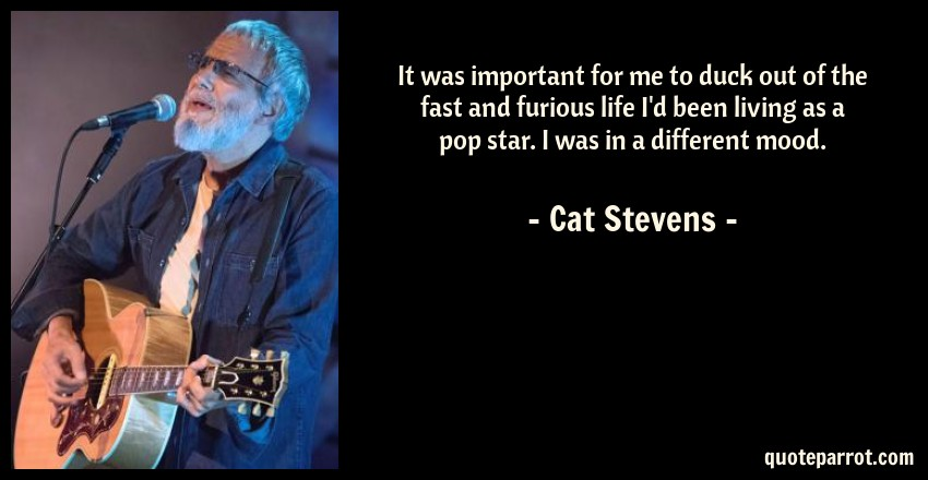Cat Stevens Quote: It was important for me to duck out of the fast and furious life I'd been living as a pop star. I was in a different mood.