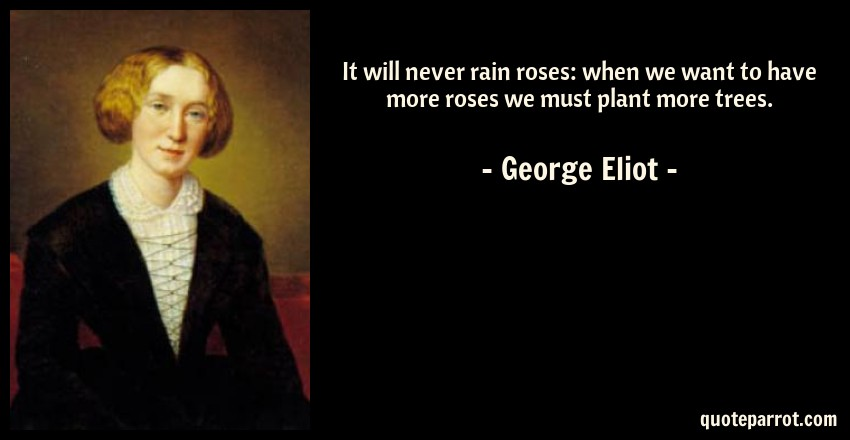 George Eliot Quote: It will never rain roses: when we want to have more roses we must plant more trees.