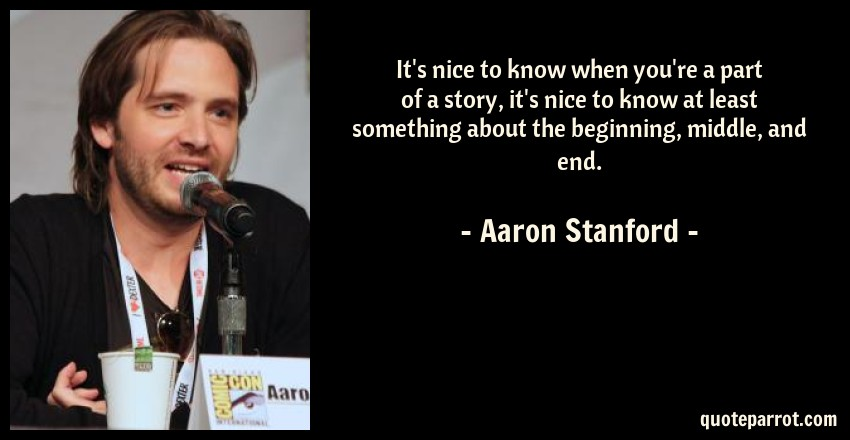 Aaron Stanford Quote: It's nice to know when you're a part of a story, it's nice to know at least something about the beginning, middle, and end.