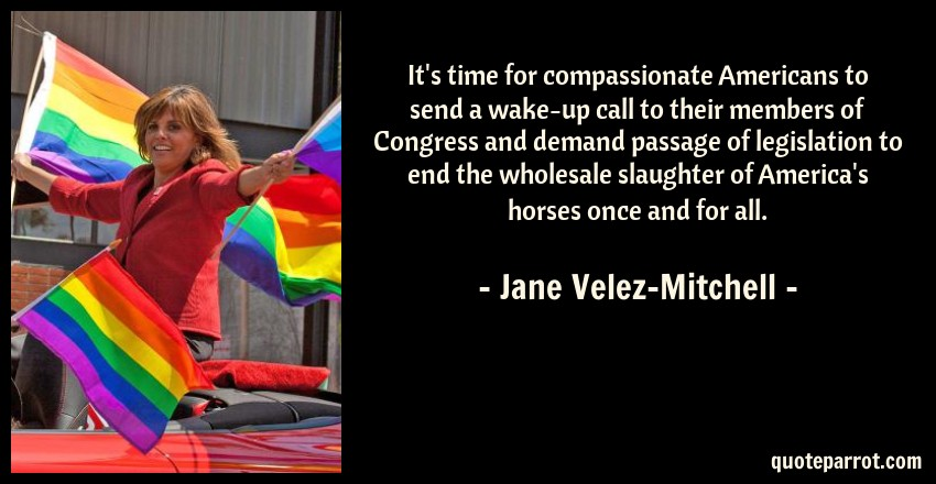 Jane Velez-Mitchell Quote: It's time for compassionate Americans to send a wake-up call to their members of Congress and demand passage of legislation to end the wholesale slaughter of America's horses once and for all.