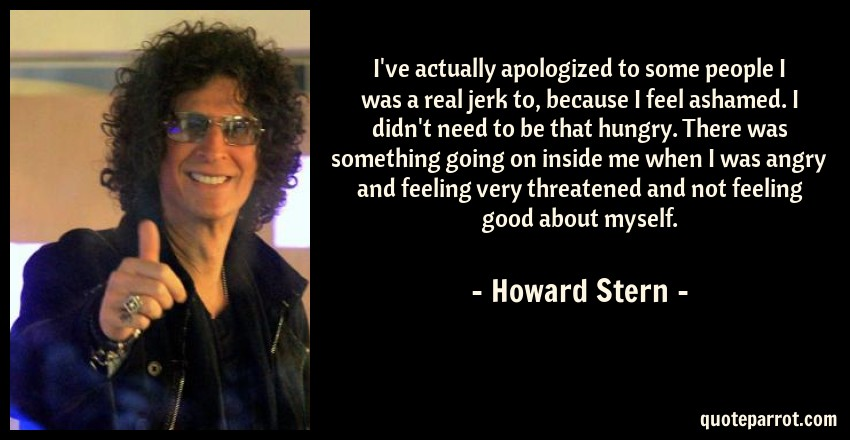 Howard Stern Quote: I've actually apologized to some people I was a real jerk to, because I feel ashamed. I didn't need to be that hungry. There was something going on inside me when I was angry and feeling very threatened and not feeling good about myself.