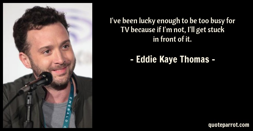 Eddie Kaye Thomas Quote: I've been lucky enough to be too busy for TV because if I'm not, I'll get stuck in front of it.