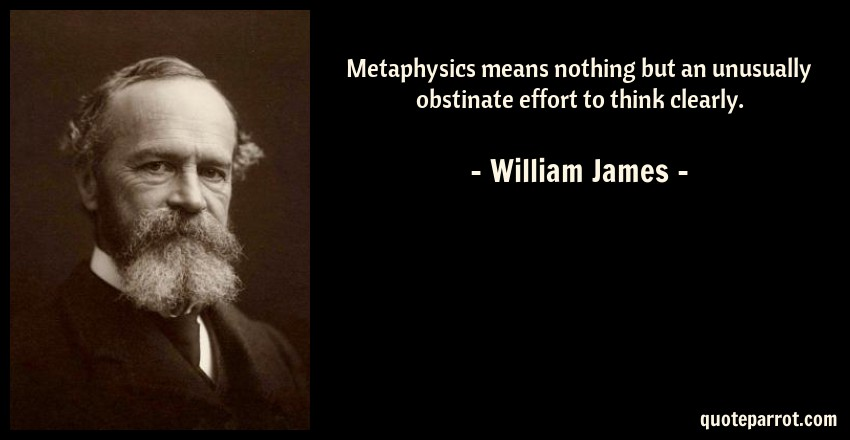 William James Quote: Metaphysics means nothing but an unusually obstinate effort to think clearly.
