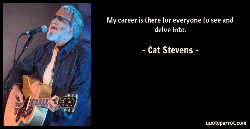 Cat Stevens Quote: My career is there for everyone to see and delve into.