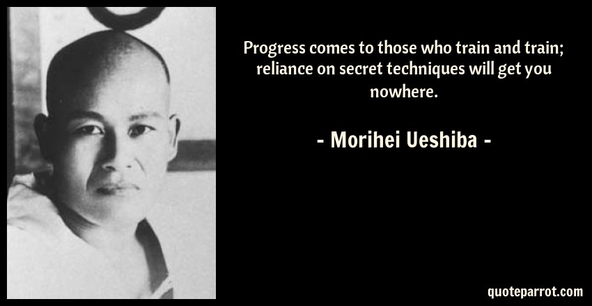 Morihei Ueshiba Quote: Progress comes to those who train and train; reliance on secret techniques will get you nowhere.