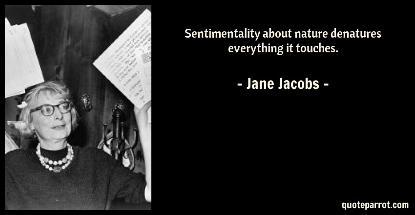 Sentimentality about nature denatures everything it tou    by Jane
