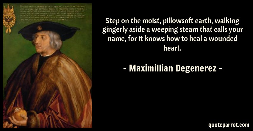 Maximillian Degenerez Quote: Step on the moist, pillowsoft earth, walking gingerly aside a weeping steam that calls your name, for it knows how to heal a wounded heart.