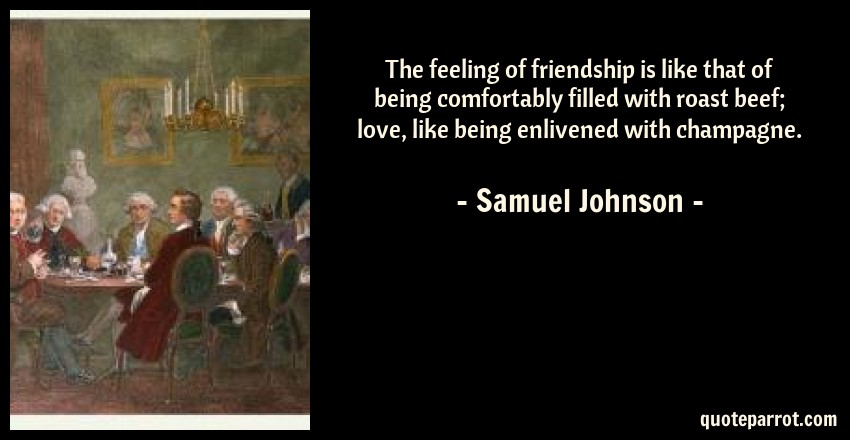 the feeling of friendship is like that of being comfort by