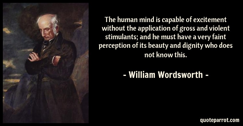 William Wordsworth Quote: The human mind is capable of excitement without the application of gross and violent stimulants; and he must have a very faint perception of its beauty and dignity who does not know this.