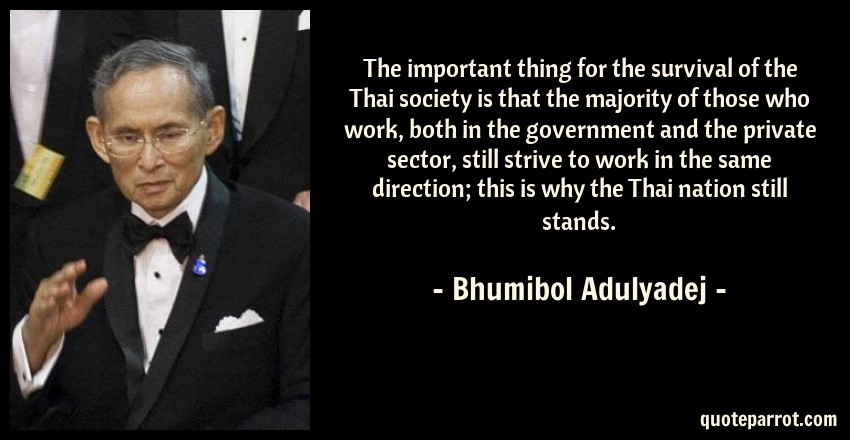 Bhumibol Adulyadej Quote: The important thing for the survival of the Thai society is that the majority of those who work, both in the government and the private sector, still strive to work in the same direction; this is why the Thai nation still stands.