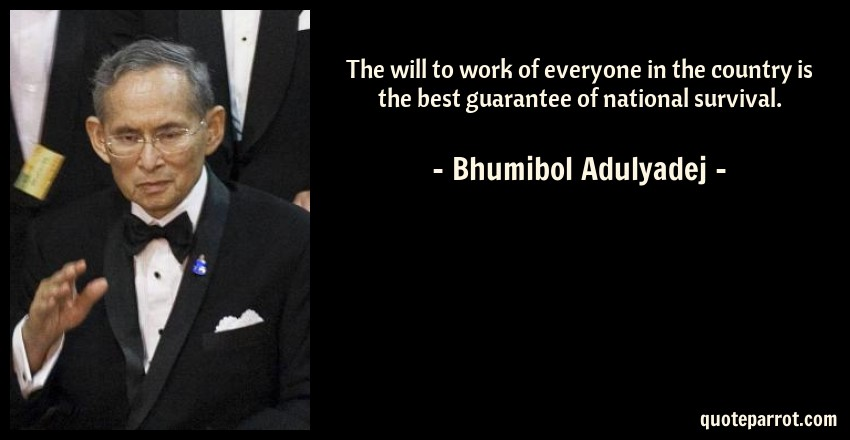Bhumibol Adulyadej Quote: The will to work of everyone in the country is the best guarantee of national survival.