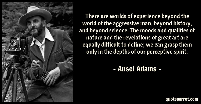 Ansel Adams Quote: There are worlds of experience beyond the world of the aggressive man, beyond history, and beyond science. The moods and qualities of nature and the revelations of great art are equally difficult to define; we can grasp them only in the depths of our perceptive spirit.