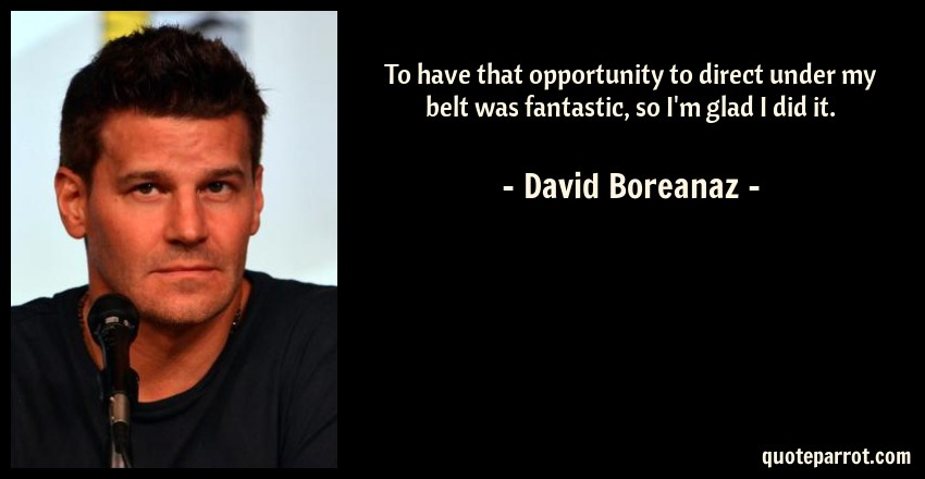 David Boreanaz Quote: To have that opportunity to direct under my belt was fantastic, so I'm glad I did it.