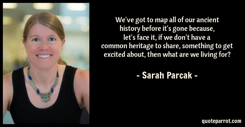 Sarah Parcak Quote: We've got to map all of our ancient history before it's gone because, let's face it, if we don't have a common heritage to share, something to get excited about, then what are we living for?