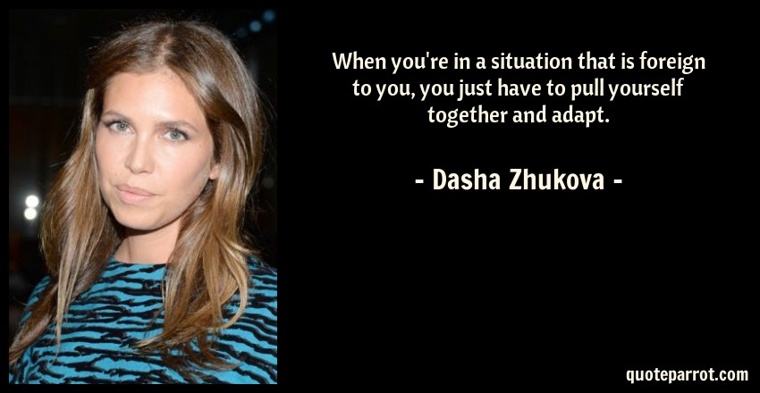 Dasha Zhukova Quote: When you're in a situation that is foreign to you, you just have to pull yourself together and adapt.