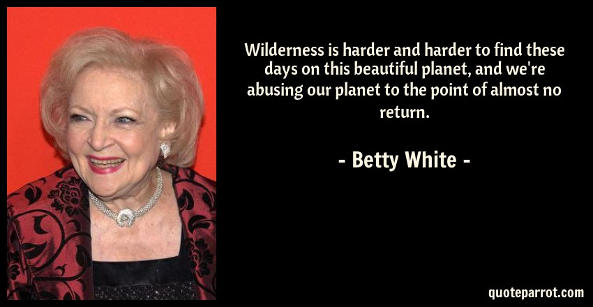 Betty White Quote: Wilderness is harder and harder to find these days on this beautiful planet, and we're abusing our planet to the point of almost no return.