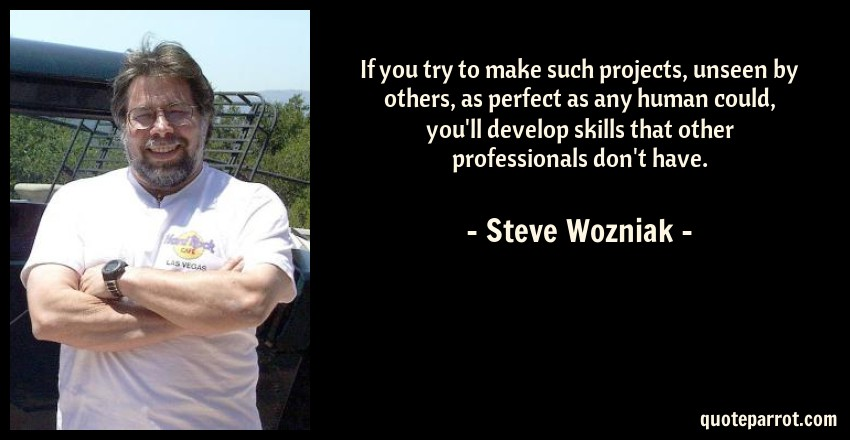 Steve Wozniak Quote: If you try to make such projects, unseen by others, as perfect as any human could, you'll develop skills that other professionals don't have.